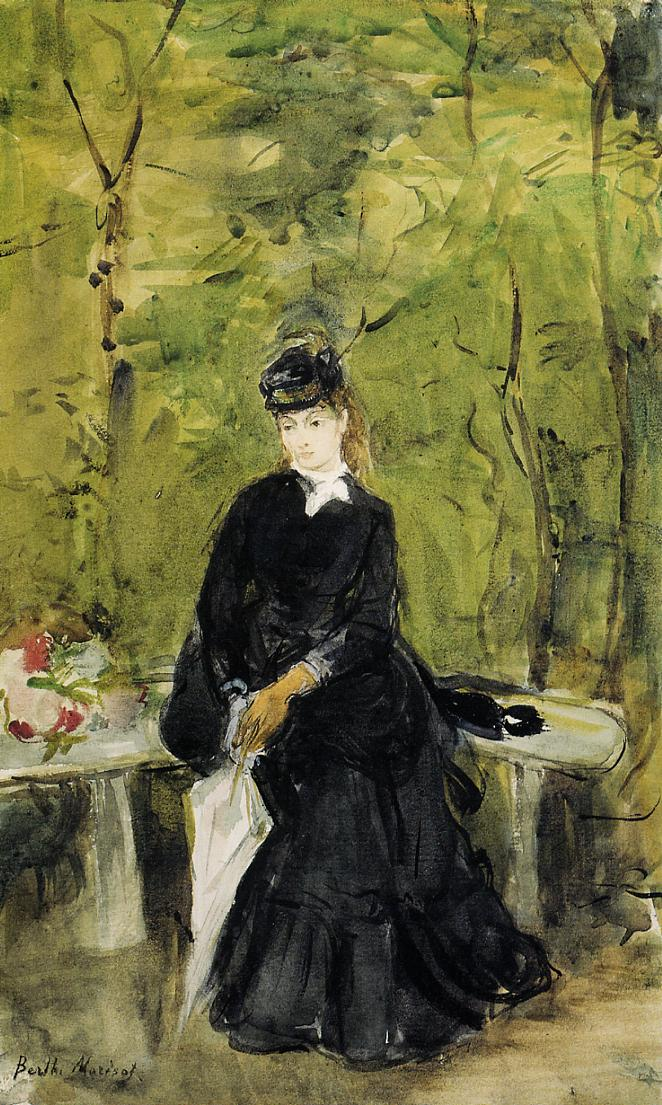 Young Lady Seated on a Bench 1864 | Berthe Morisot | Oil Painting