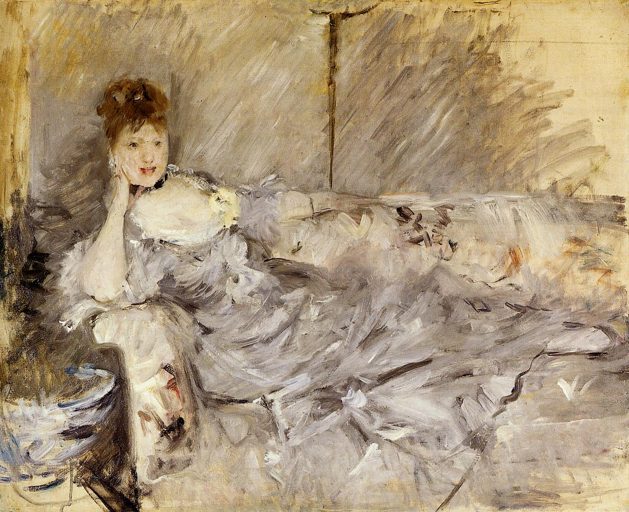 Young Woman in Grey Reclining 1879 | Berthe Morisot | Oil Painting