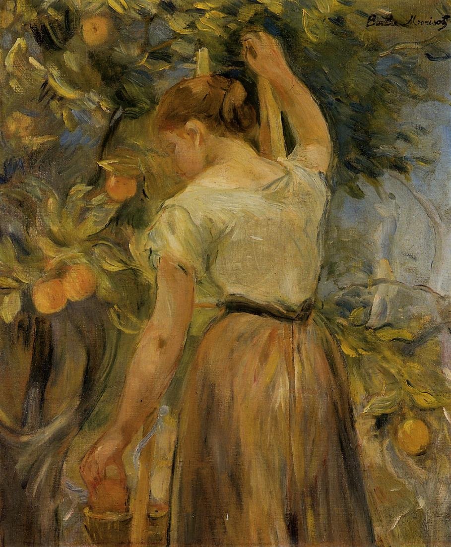 Young Woman Picking Oranges 1889 | Berthe Morisot | Oil Painting