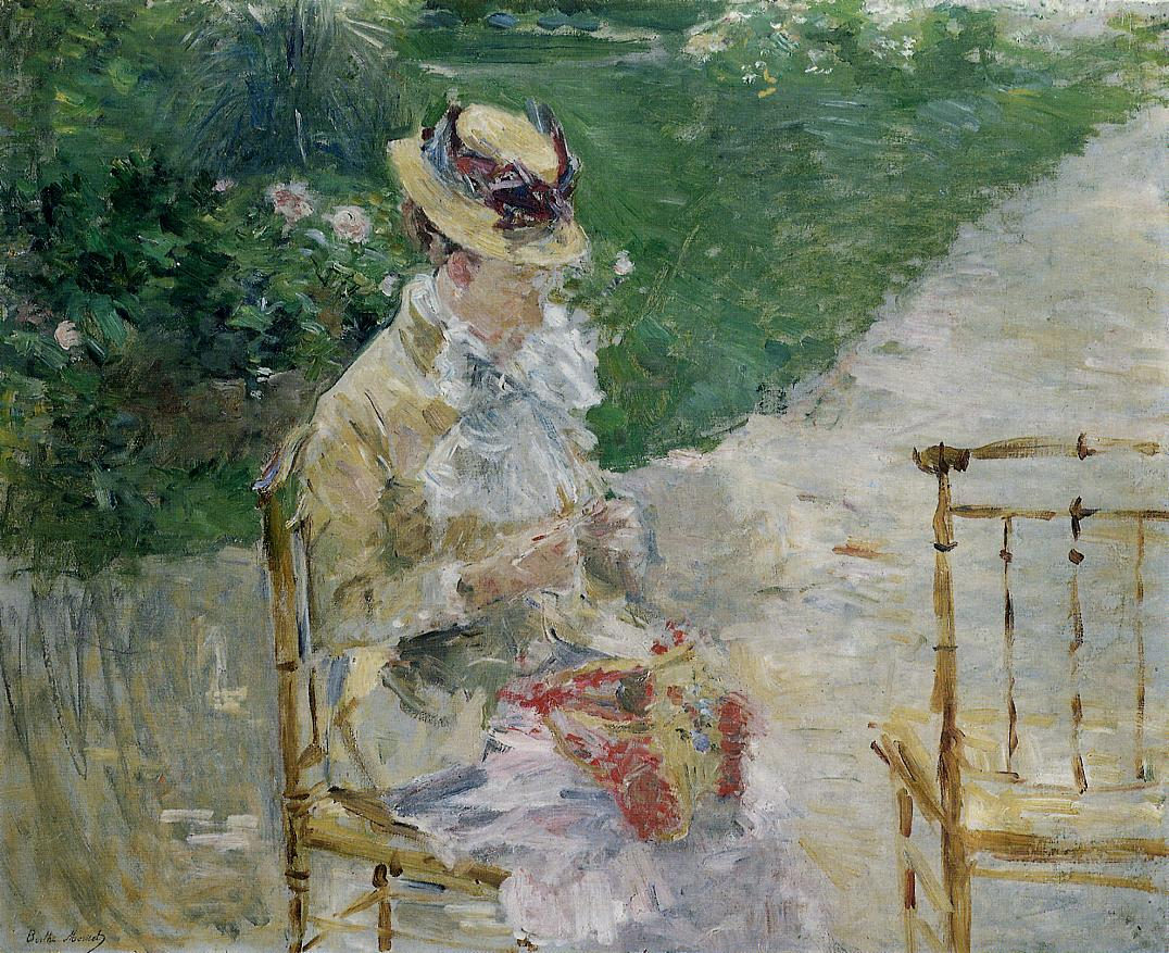 Young Woman Sewing in the Garden 1883 | Berthe Morisot | Oil Painting