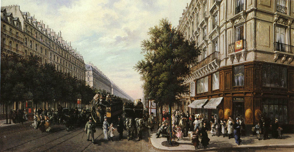 A Busy Paris Street | B Pafset | Oil Painting