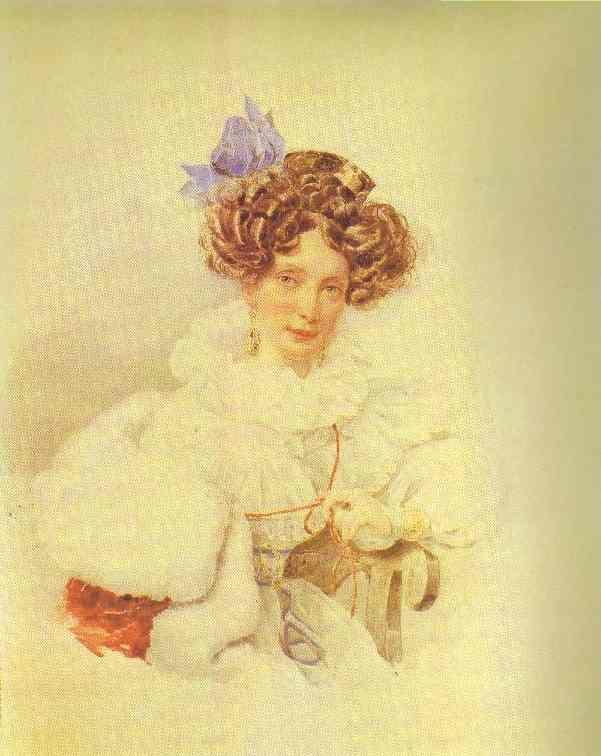 Portrait Of Catherine Bakunina 1830-1832   Brulloff-Alexander   Oil Painting