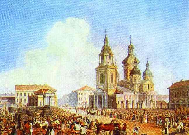 Sennaya Square In St Petersburg 1821-1826   Brulloff-Alexander   Oil Painting