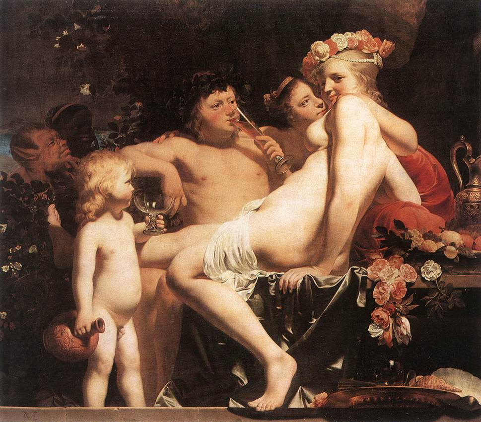Bacchus With Two Nymphs And Cupid | Caesar Van Everdingen | Oil Painting