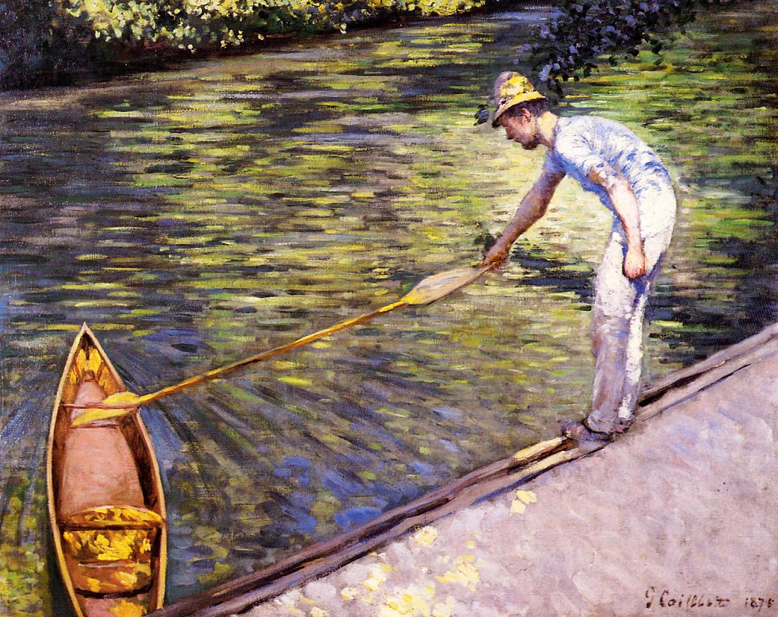 Boater Pulling on His Perissoire  1878 | Gustave Caillebotte | Oil Painting