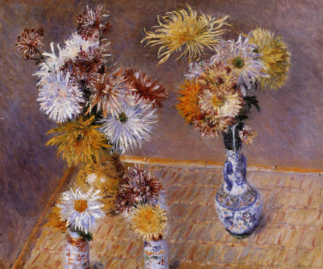 Four Vases of Chrysanthemums  1893 | Gustave Caillebotte | Oil Painting