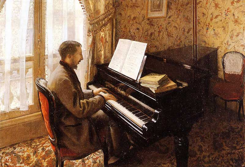 Young Man Playing the Piano  1876 | Gustave Caillebotte | Oil Painting