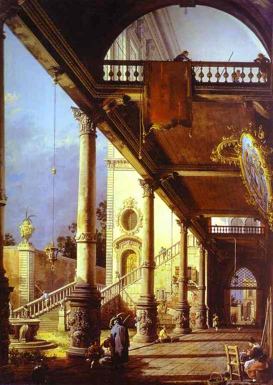 Capriccio Ofolonade And The Courtyard Of A Palace 1765 | Canaletto | Oil Painting
