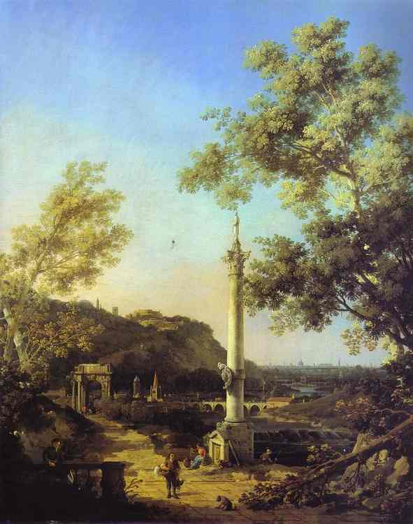 Capriccio River Landscape With A Column A Ruined Roman Arch And Reminiscences of England | Canaletto | Oil Painting