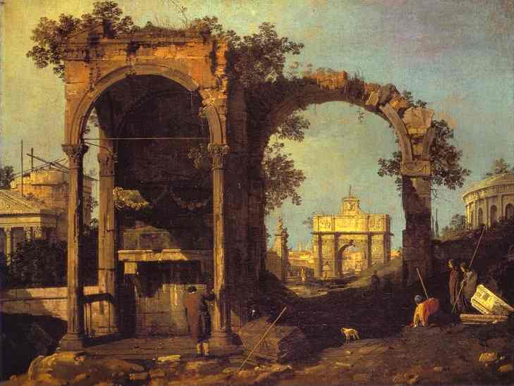 Capriccio Ruins And Classic Buildings 1730s | Canaletto | Oil Painting