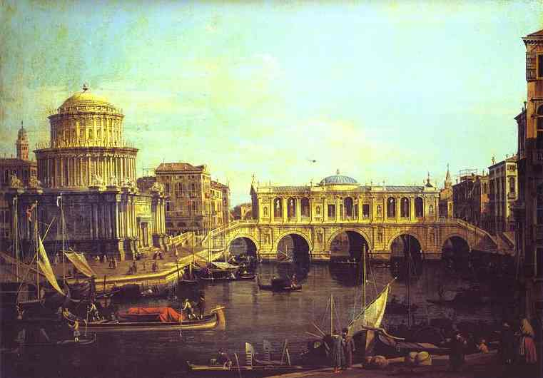 Capriccio The Grand Canal With An Imaginary Rialto Bridge And Other Buildings | Canaletto | Oil Painting