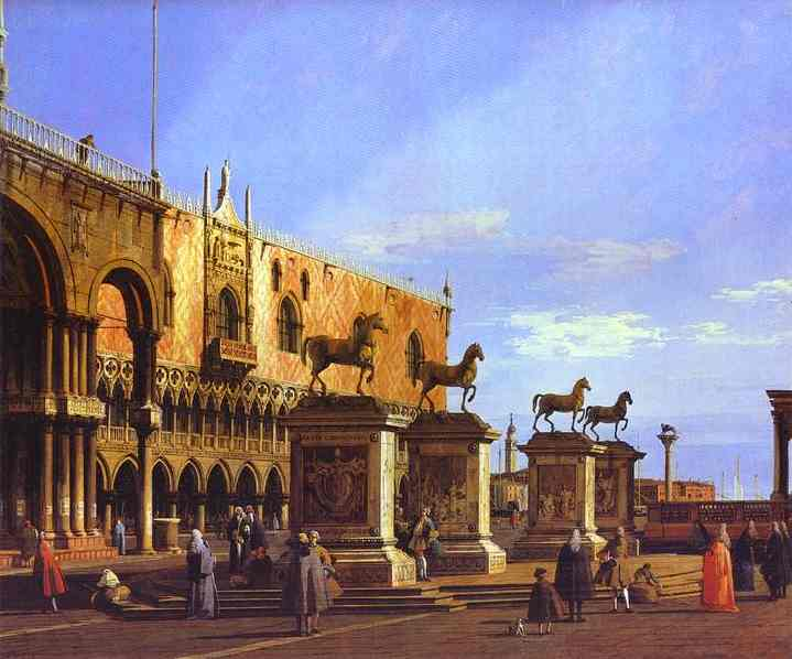 Capriccio The Horses Of San Marco In The Piazzetta 1743 | Canaletto | Oil Painting