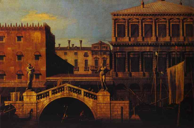 Capriccio The Ponte Della Pescaria And Buildings On The Quay | Canaletto | Oil Painting