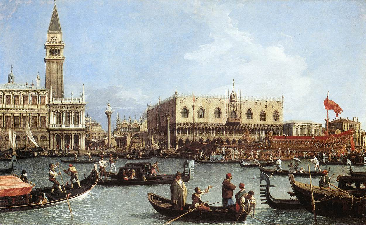 Return Of The Bucentaurn To The Molo On Ascension Day 1730-3   Canaletto   Oil Painting