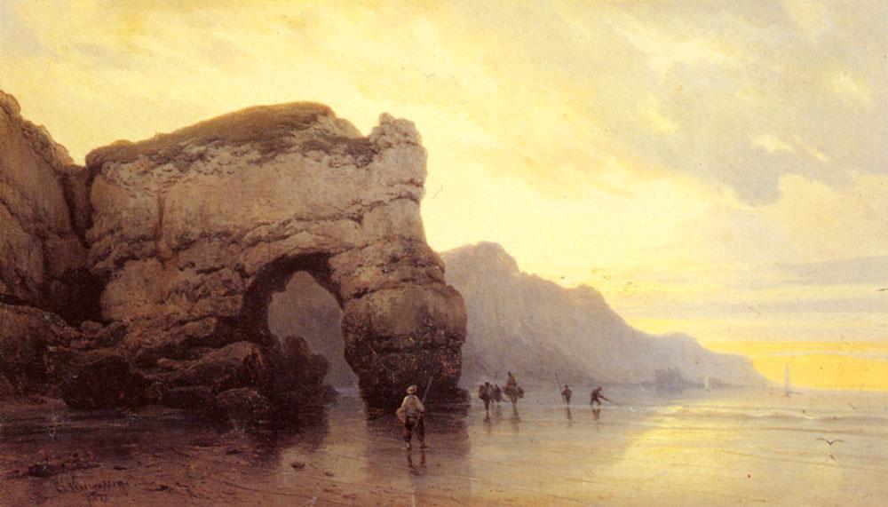 Fisherfolk On A Shore At Sunrise | Carl Joseph Kuwasseg | Oil Painting