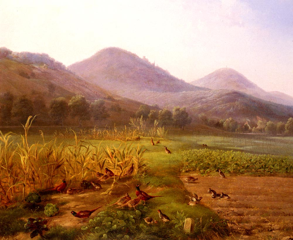 An Extensive Field With Game Birds And Rabbits | Carl Jutz | Oil Painting