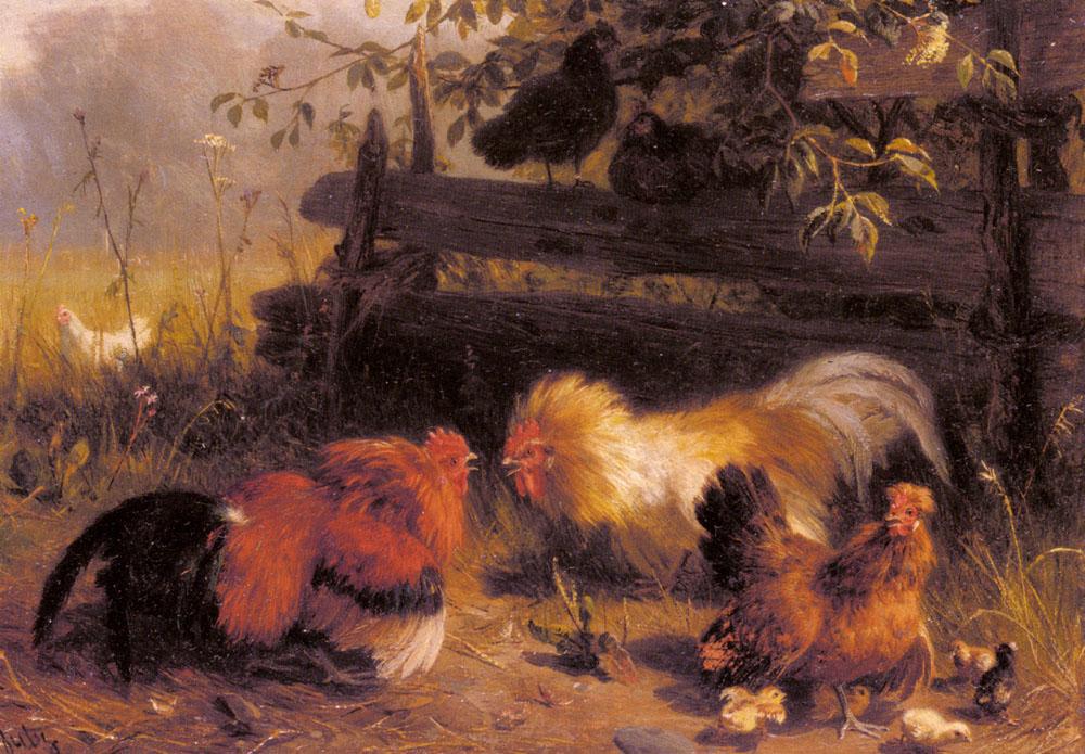 Chickens | Carl Jutz | Oil Painting