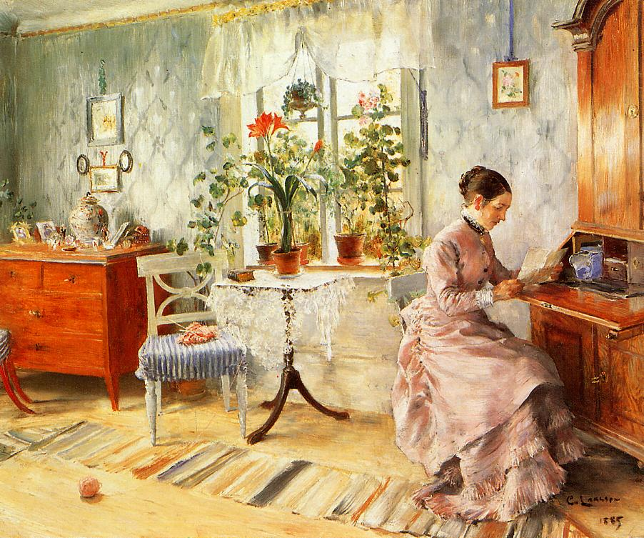 An Interior with a Woman Reading 1885   Carl Larsson   Oil Painting