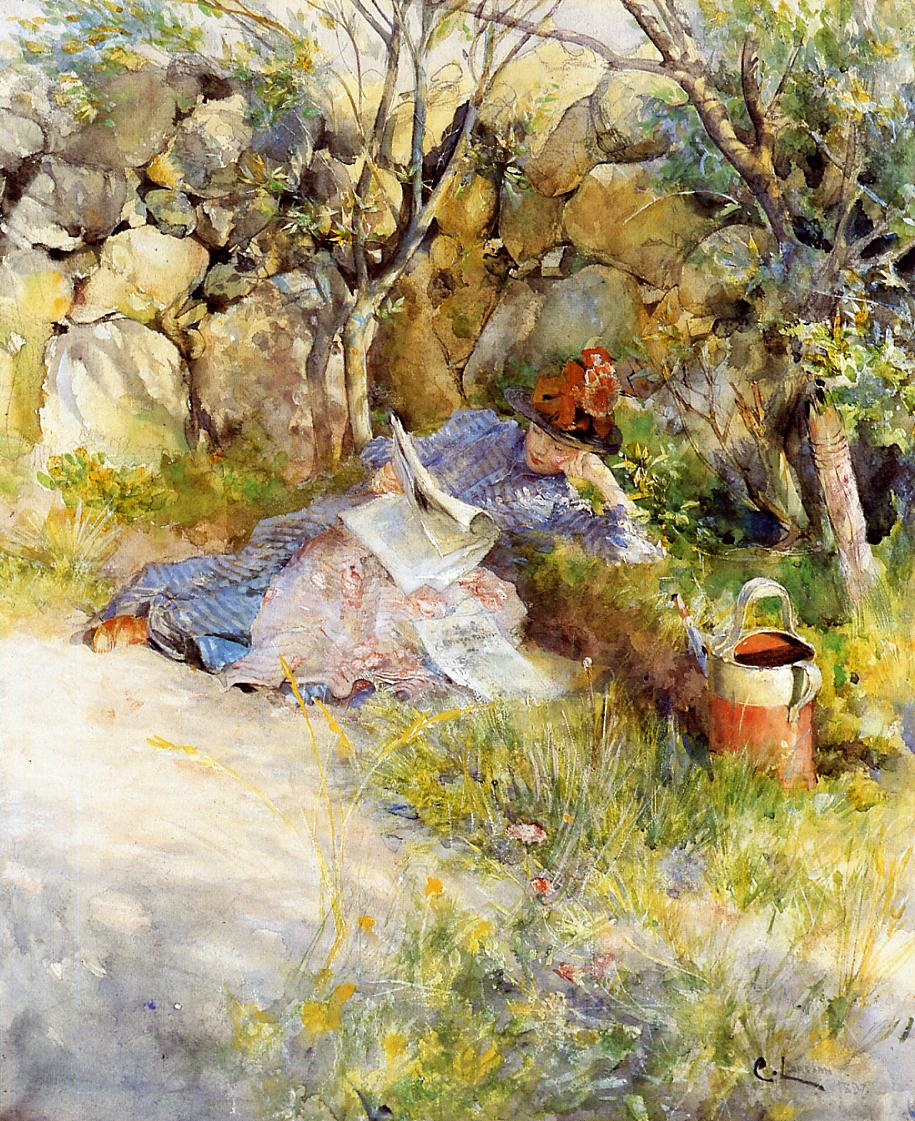 A Lady Reading a Newspaper 1886 | Carl Larsson | Oil Painting
