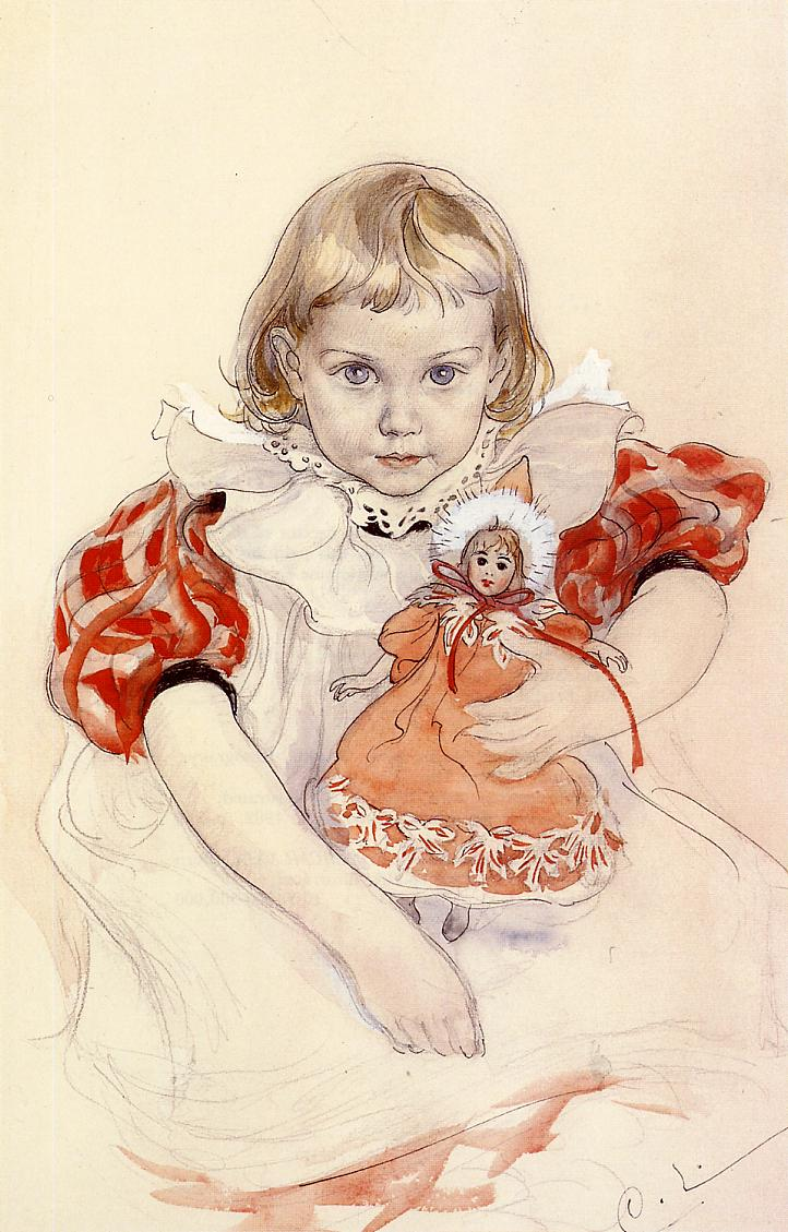 A Young Girl with a Doll 1897 | Carl Larsson | Oil Painting