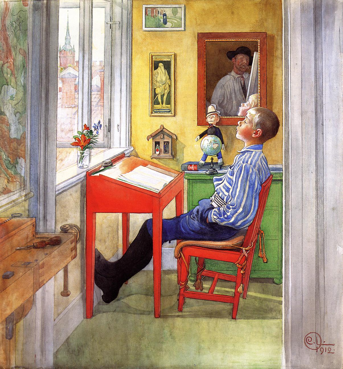 Esbjorn Doing His Homework 1912 | Carl Larsson | Oil Painting