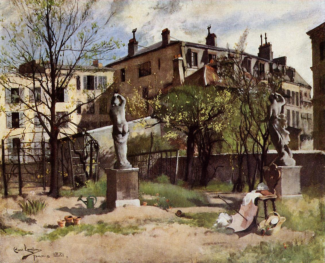 Garden with Sculptures 1881 | Carl Larsson | Oil Painting