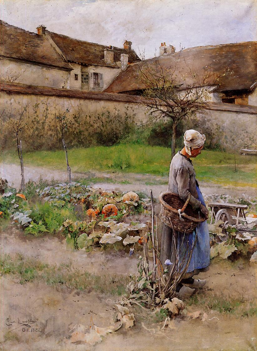 October (aka The Pumpkins) 1882-1883 | Carl Larsson | Oil Painting
