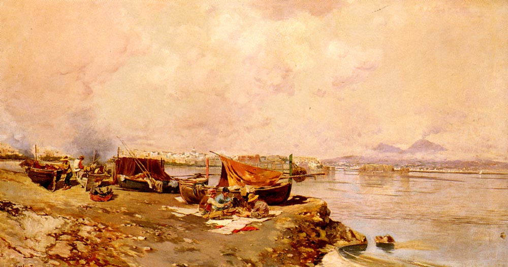 Fishermens Tasks In The Bay Of Naples   Carlo Branaccio   Oil Painting