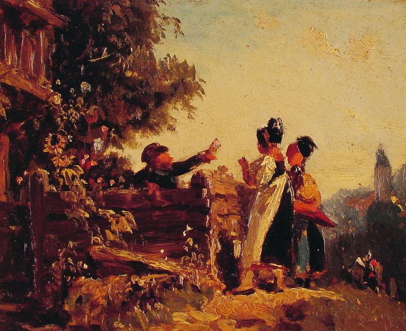 Swabian Girls at a Garden Fence | Carl Spitzweg | Oil Painting