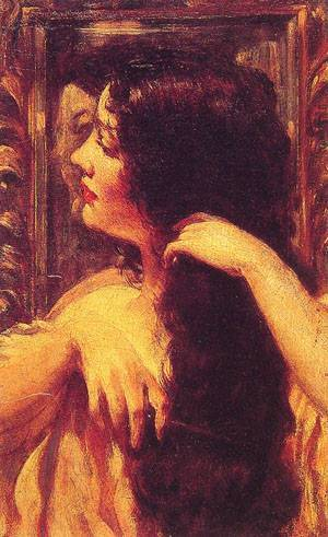 Brunette Combing Her Hair | Carroll Beckwith | Oil Painting