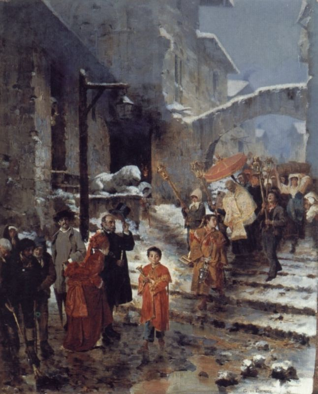 A Religious Procession in Winter | Cavaliere Giocomo Di Chirico | Oil Painting