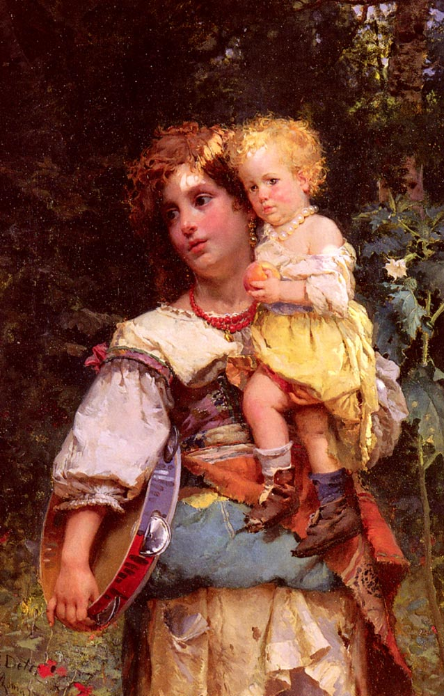 Gypsy Woman And Child | Cesare Auguste Detti | Oil Painting