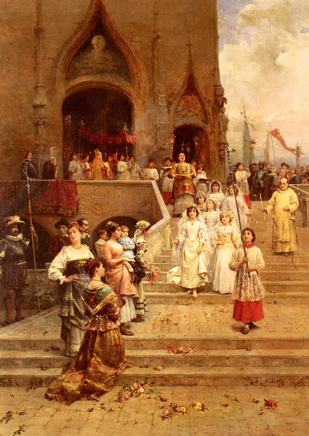 The Confirmation Procession | Cesare Auguste Detti | Oil Painting