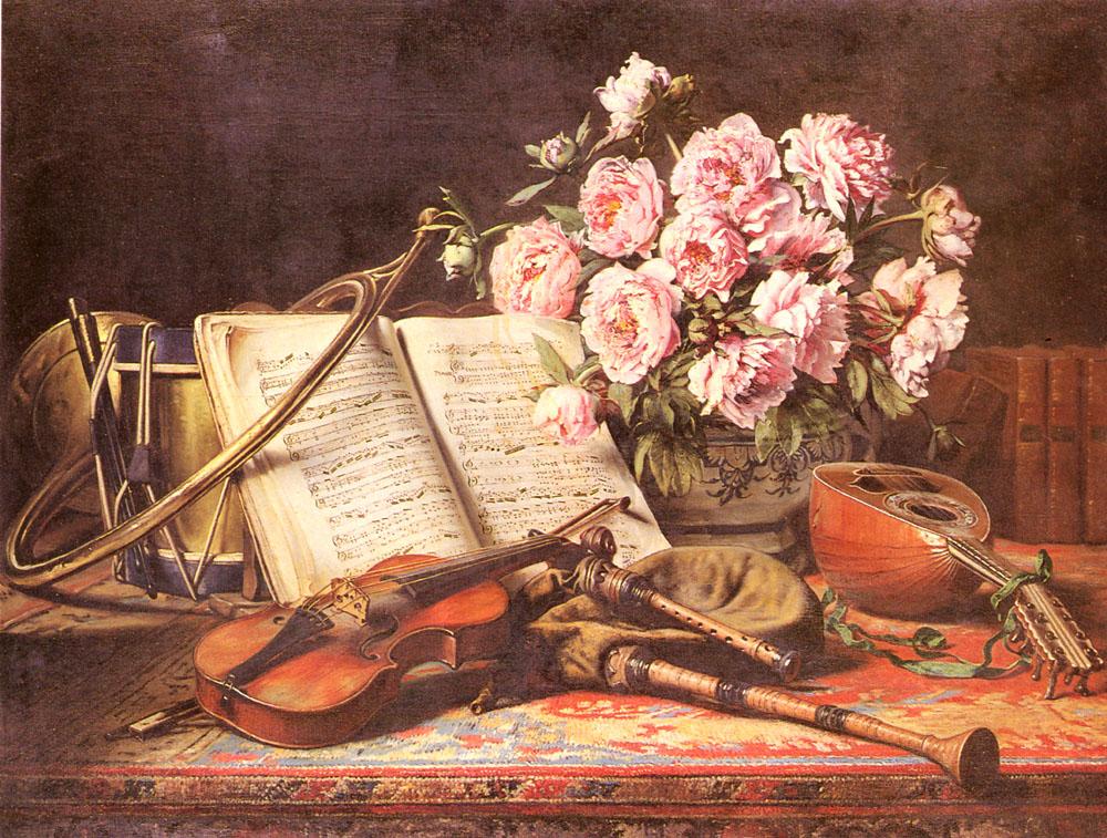 A Musical Still Life | Charles Antoine Joseph Loyeux | Oil Painting
