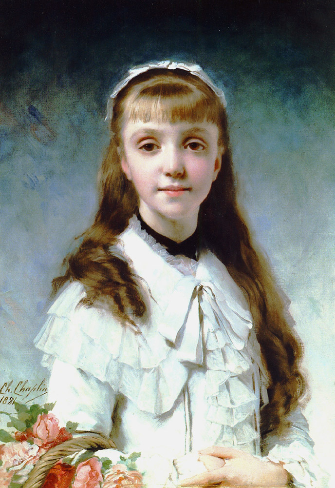 Young Girl with Bouquet | Charles Chaplin | Oil Painting