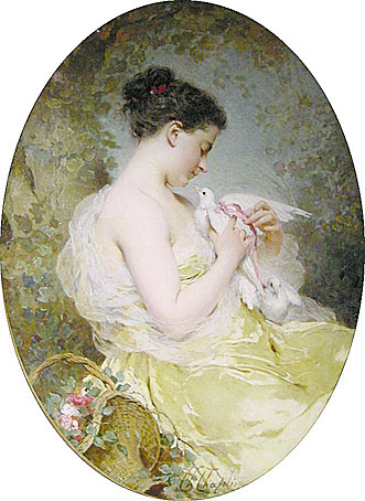 Jeune Fille a la Colombe | Charles Chaplin | Oil Painting