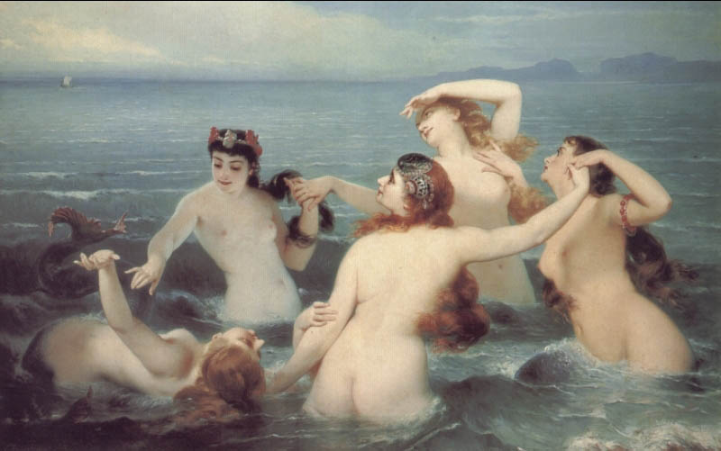 Mermaids Frolicking in the Sea | Charles Edouard Boutibonne | Oil Painting
