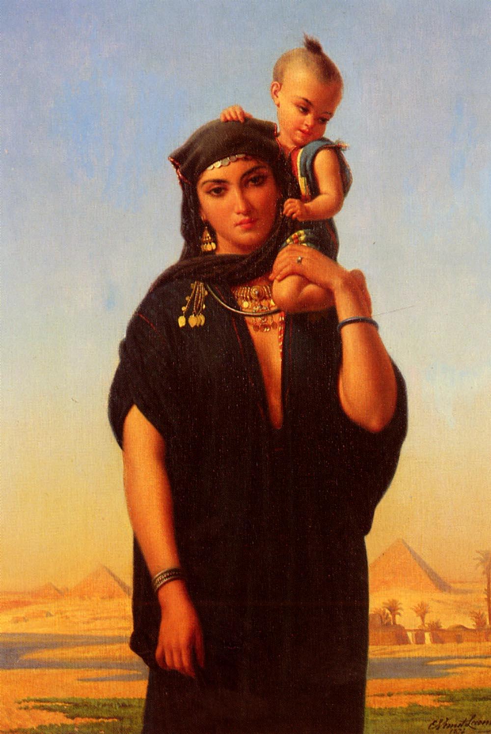 Femme Fellah Portant | Charles Emile Hippolyte Lecomte-Vernet | Oil Painting