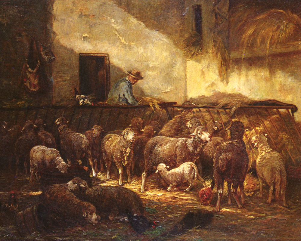 A Flock Of Sheep In A Barn | Charles Emile Jacque | Oil Painting
