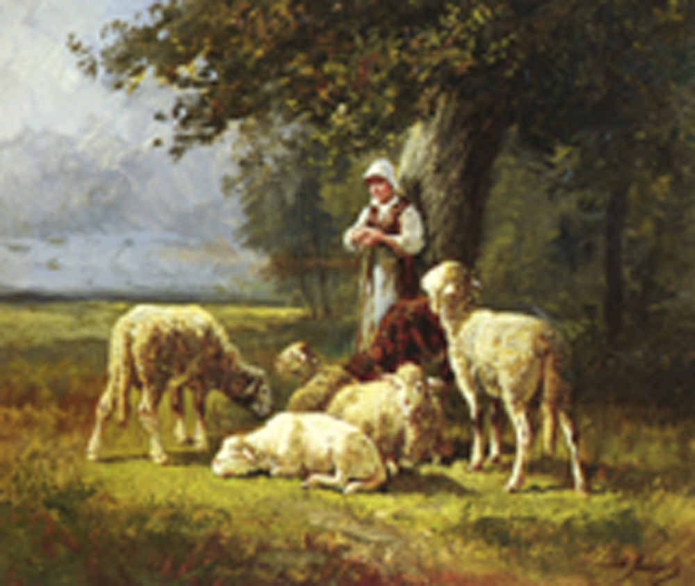 A Shepherdess With Her Flock In A Woodland Clearing | Charles Emile Jacque | Oil Painting