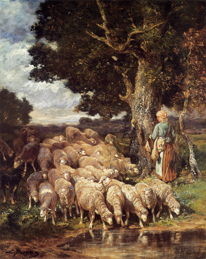 A Shepherdess with her Flock near a Stream | Charles Emile Jacque | Oil Painting