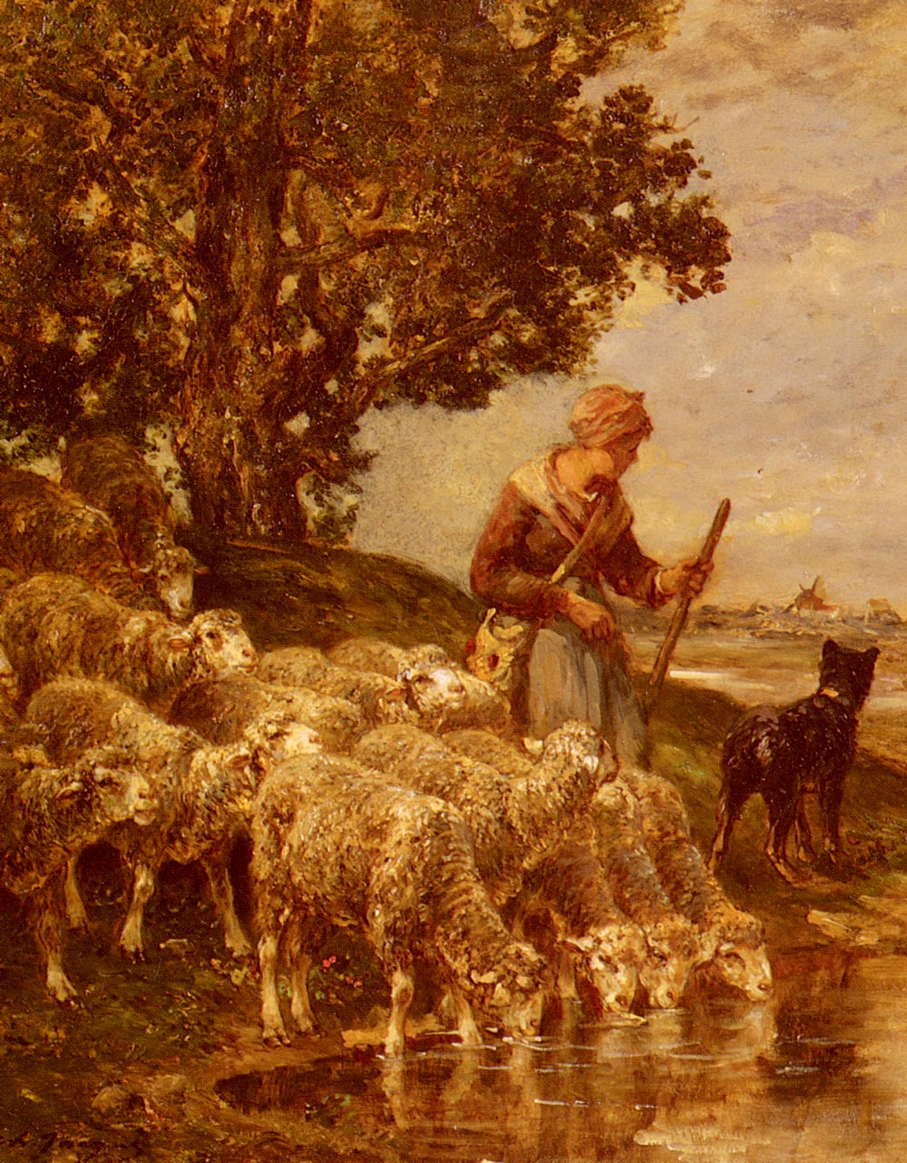A Shepardess Watering Her Flock | Charles Emile Jacque | Oil Painting