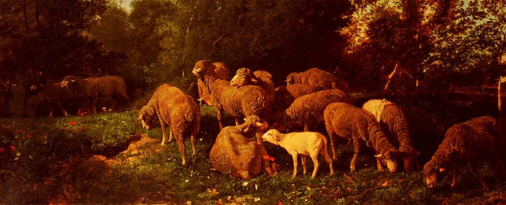 Les Moutons Dans Le Sous-Bios | Charles Emile Jacque | Oil Painting