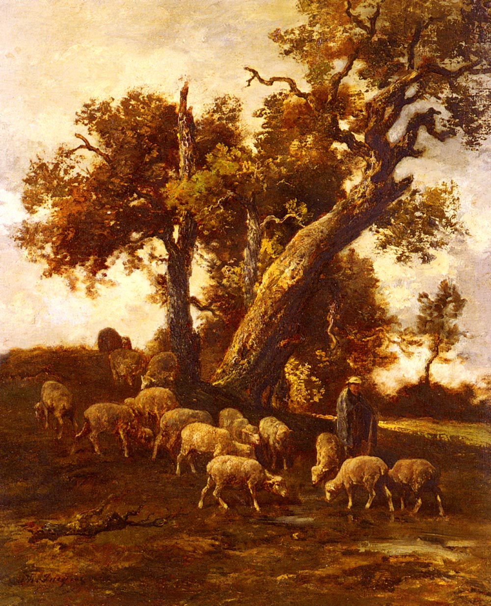 Sheep At Pasture   Charles Emile Jacque   Oil Painting