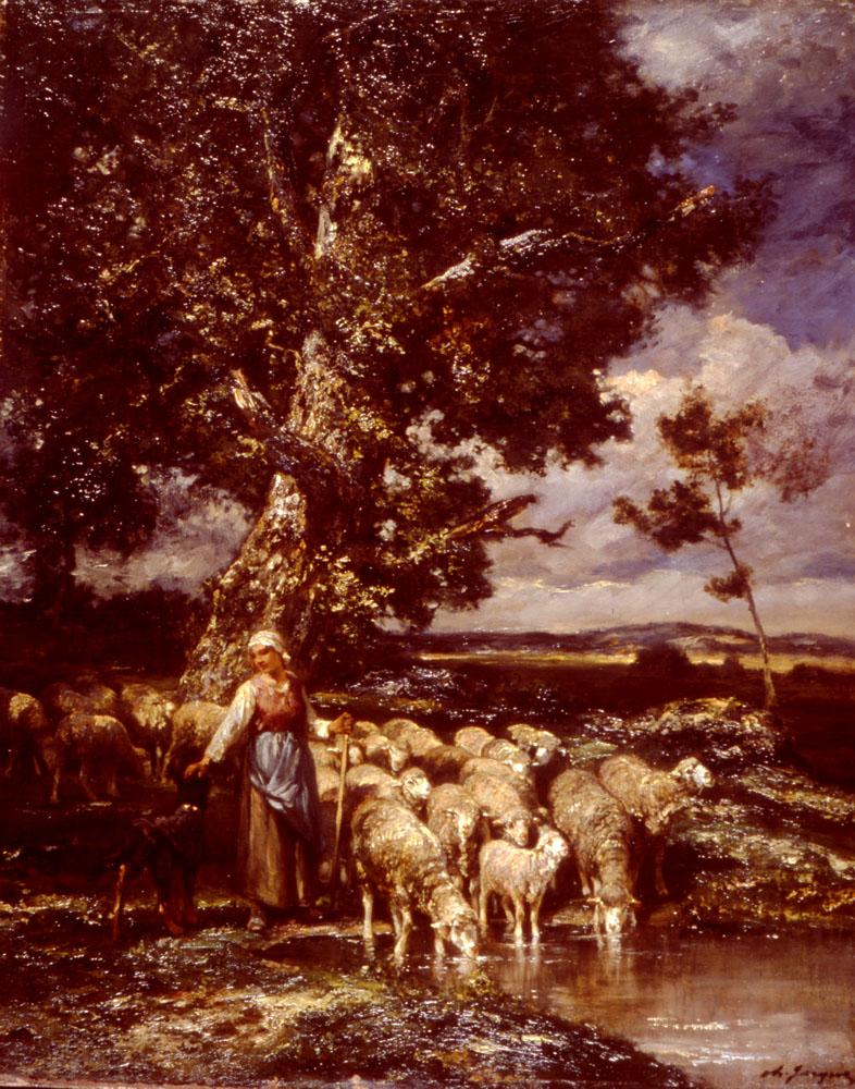 Shepherdess | Charles Emile Jacque | Oil Painting