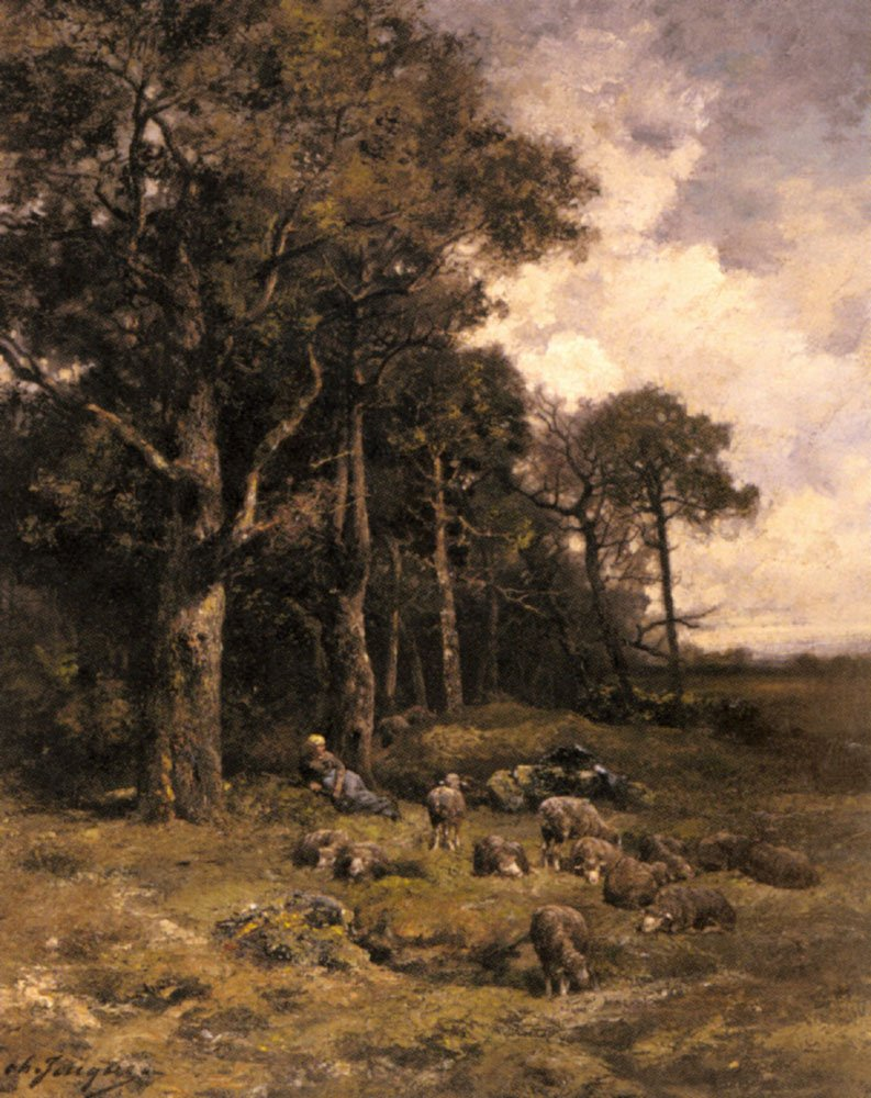 Shepherdess Resting With Her Flock   Charles Emile Jacque   Oil Painting