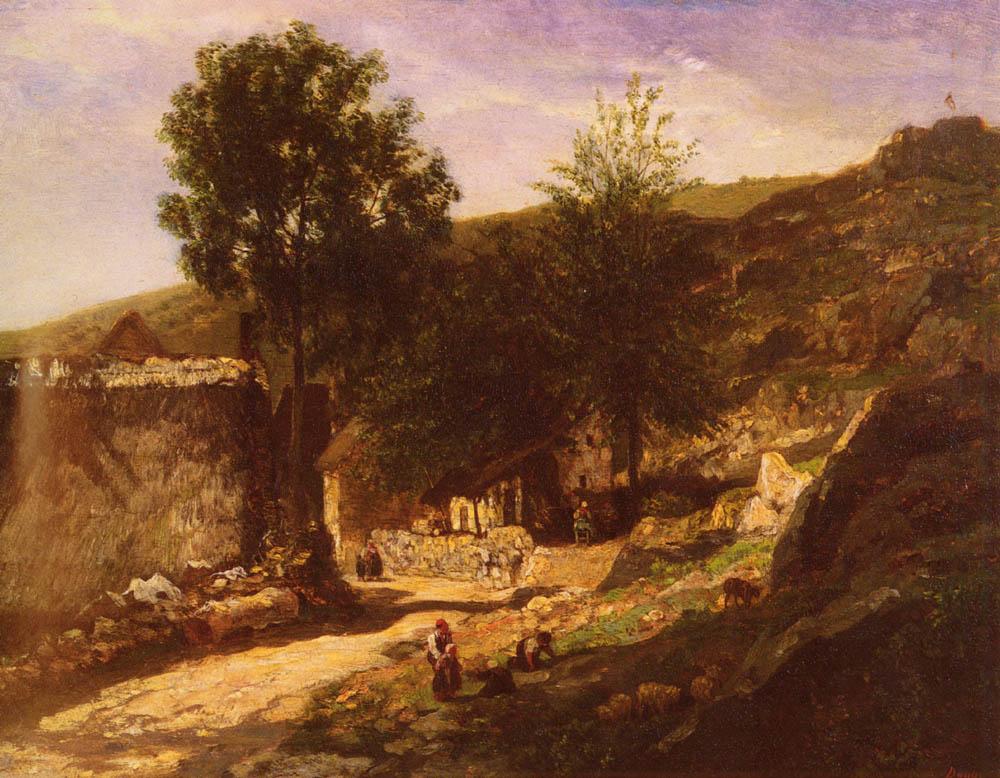 Daubigny Charles Francois Entree De Village | Charles Francois Daubigny | Oil Painting
