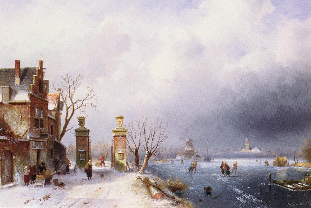 A Sunlit Winter Landscape | Charles Henri Joseph Leickert | Oil Painting