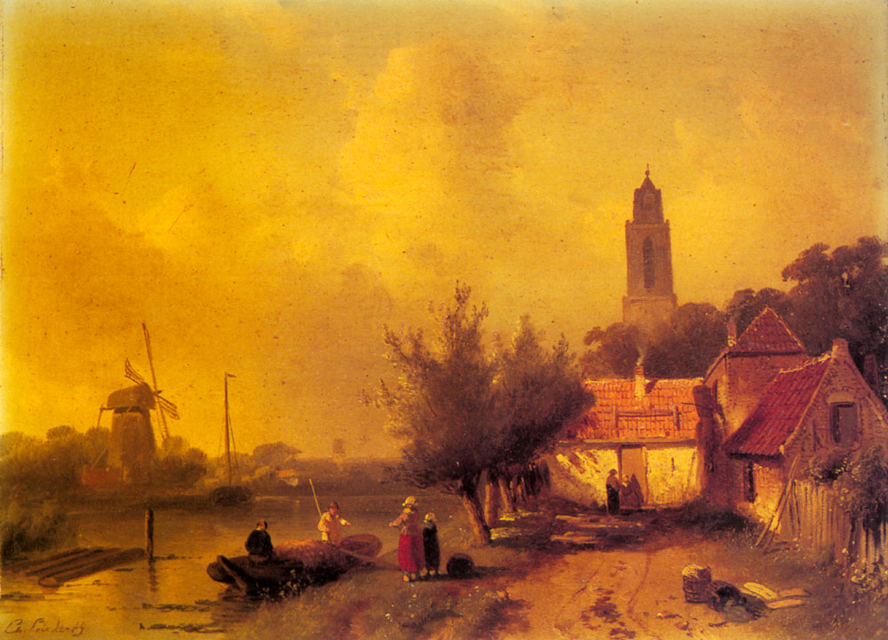 A River Landscape With Figures | Charles Henri Joseph Leickert | Oil Painting