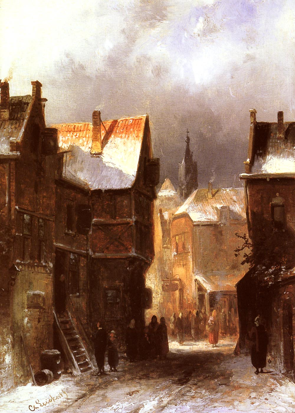 A Dutch Town In Winter | Charles Henri Joseph Leickert | Oil Painting